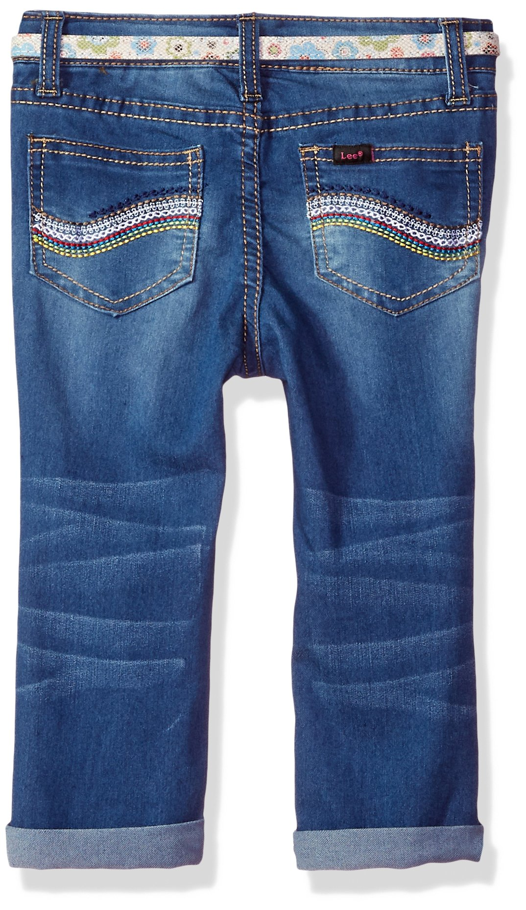 LEE Toddler Girls' Belted Skinny Jean, Shaken Blue, 4T by LEE (Image #2)