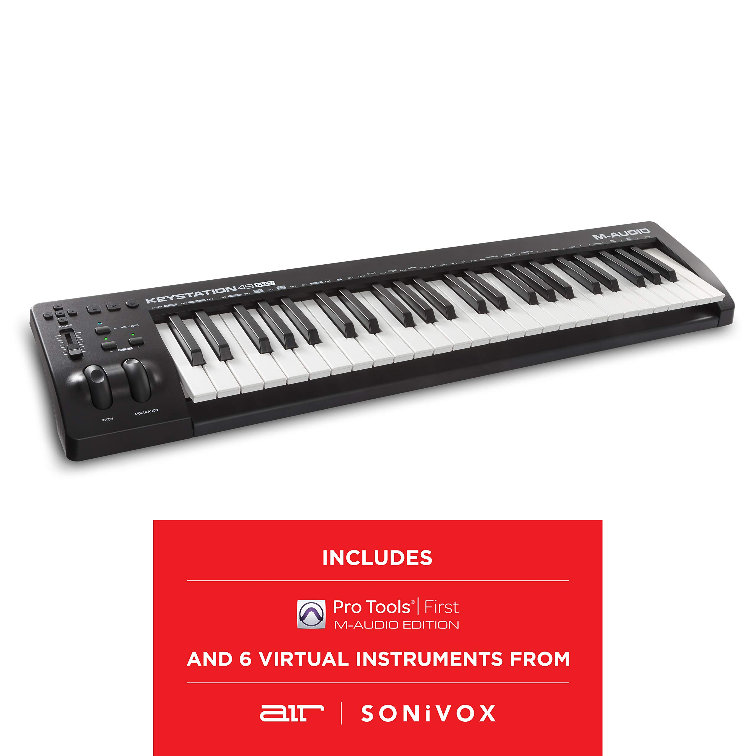 M Audio Keystation 49 MK3 | Compact Semi Weighted 49 Key MIDI Keyboard Controller with Assignable Controls, Pitch / Modulation Wheels and Software Production Suite included USB Powered by M-Audio