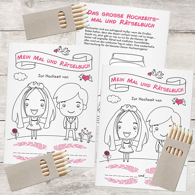 Weddng Hochzeitsmalbuch Für Kinder Mit Buntstiften Malbuch Hochzeit Mit 28 Liebevoll Gestalteten Ausmal Und Rätselseiten 3 Malbücher 3