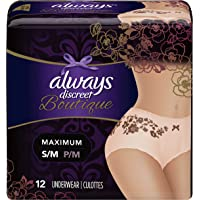 Always Discreet Boutique High-Rise Incontinence Underwear Size S/M Maximum Rosy, 12 Count