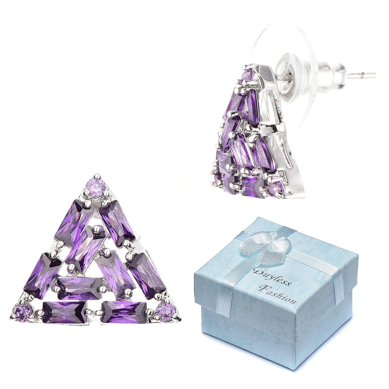 Buyless Fashion Girls Triangle Stud Earrings Hypoallergenic Steel In Gift Box