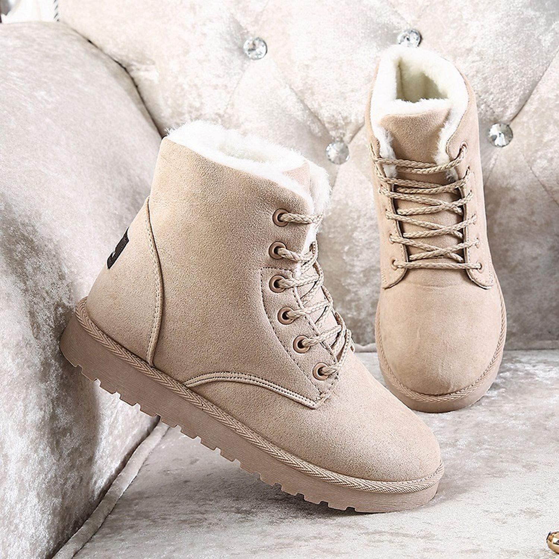 Women Boots Waterproof Snow Boots Female Non-Slip Winter Shoes Lace up Fur Footwear
