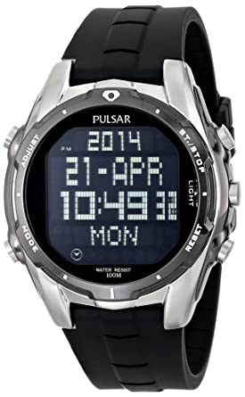 Image result for Pulsar Men's PQ2003 World Time Alarm Chronograph Black Urethane Strap Watch