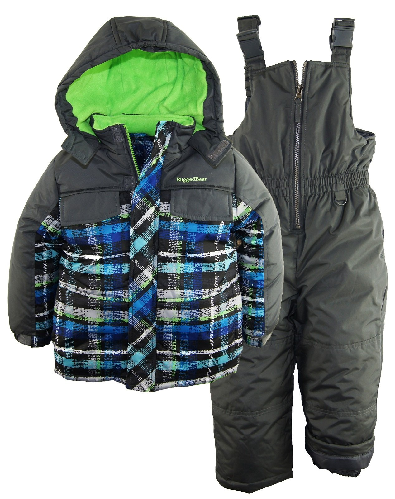 Rugged Bear Baby Boys' AO Plaid Snowsuit, Charcoal, 12 Months