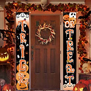 Bonsai Tree Halloween Decorations for Home, Trick or Treat Scary Hanging Vertical Banners Porch Signs Decor, Holiday Welcome Sign for Front Door Yard Wall Outdoor Indoor Party 12 x 71 Inch