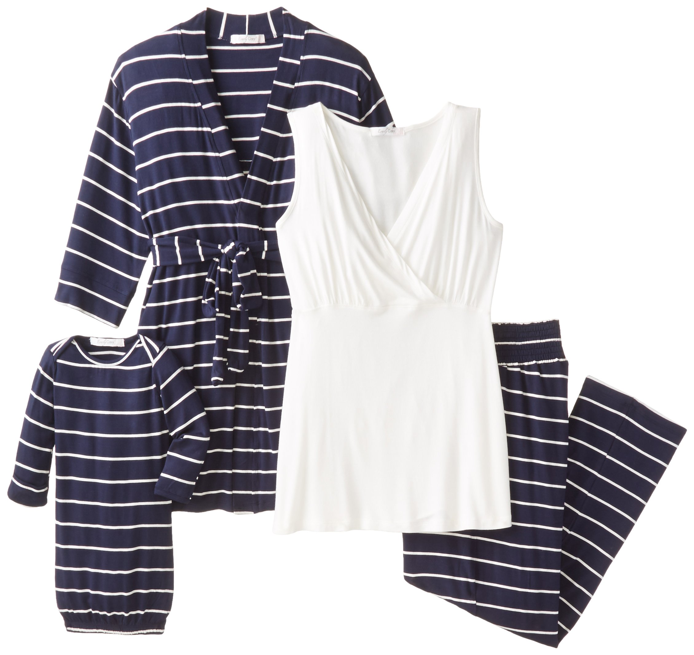Everly Grey Women's Roxanne 5 Piece Maternity and Nursing PJ Pant Set with Robe and Matching Baby Gown, Navy, Extra Small