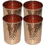 SAGA Set of 4, Copper Glass for Ayurvedic Health Benefits Drinkware Hammered Tumbler