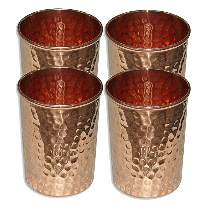 SAGA Copper Hammered Tumbler Glass for Ayurvedic Health Benefits (Gold)-Set of 4 Glassware & Drinkware at amazon