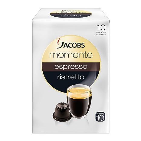 Jacobs Momente Espresso Ristretto Cápsulas, adecuado para máquinas Nespresso, 10 pzs. de 5.3