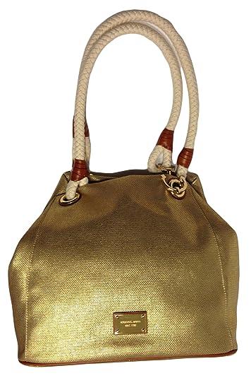 michael kors marina grab bag gold canvas tote handbags amazon com rh amazon com