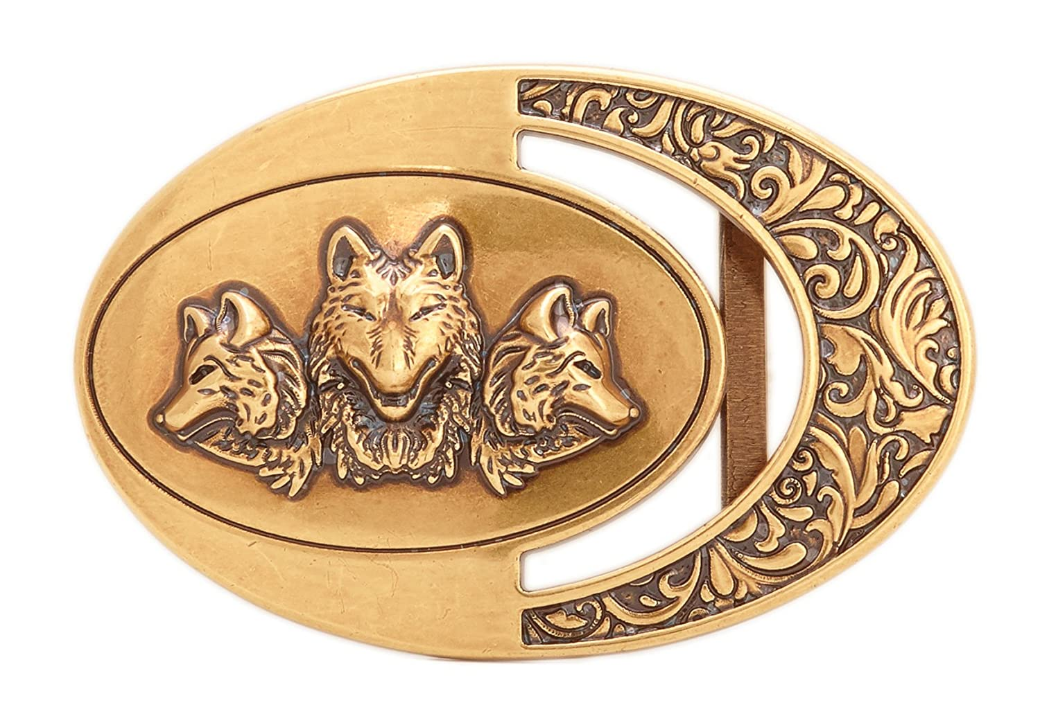 Gurscour Western Wolf Belt Buckle - Bronze Color