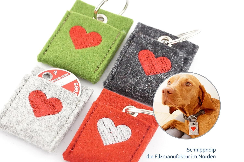 Täschchen für Hundemarke, Hundechip, Einkaufschip aus hochwertigem Wollfilz bestickt mit einem Herz