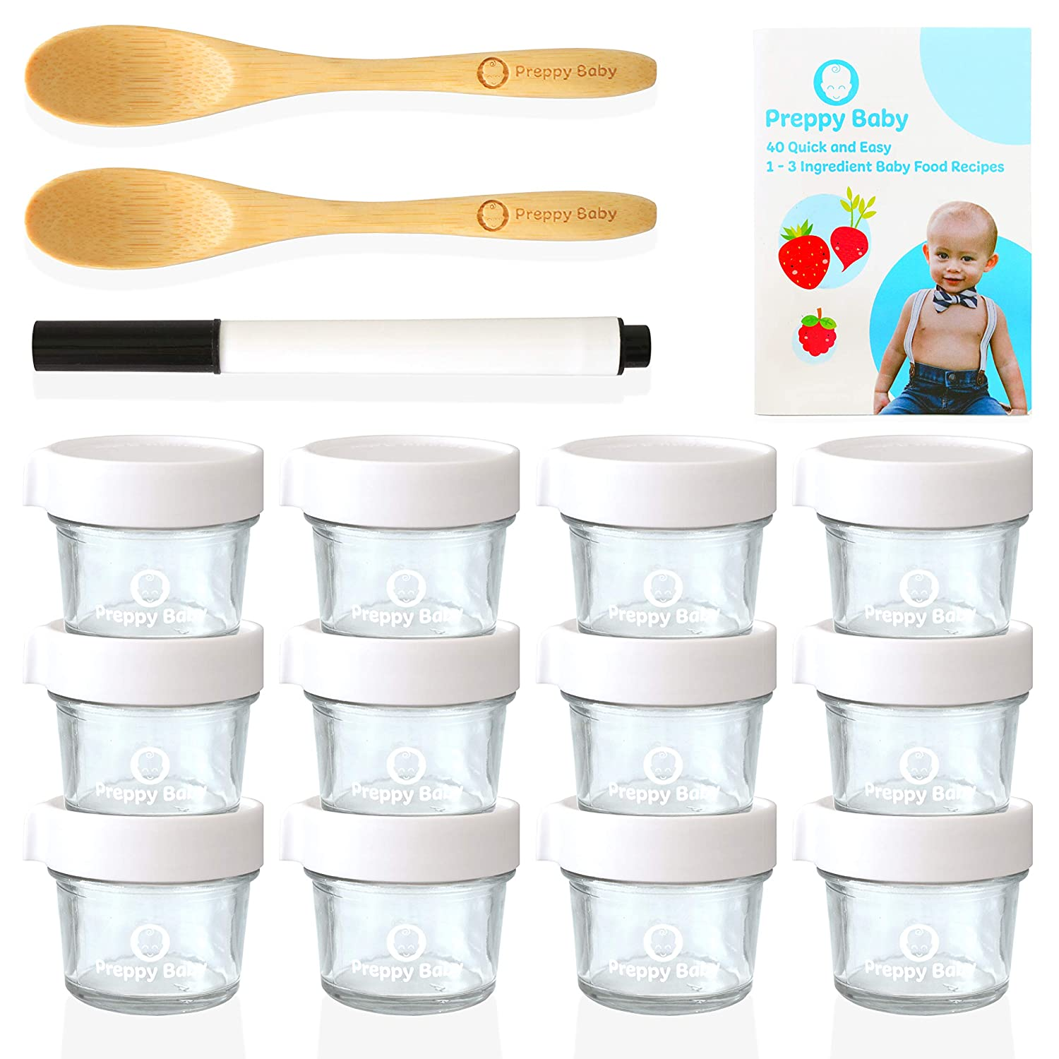 PreppyBaby 4 oz Glass Baby Food Storage Containers with Lids - Pack of 12 Reusable Dishwasher & Microwave Safe Food Jars w/ 2 Bamboo Infant Spoons, Recipe Booklet & Non-toxic Easy Erase Marker (White)