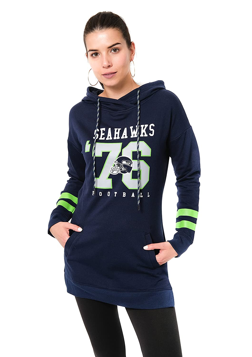 Navy NFL Seattle Seahawks Ultra Game Womens L//S FLACH TUNIC P//O W//HOOD Small