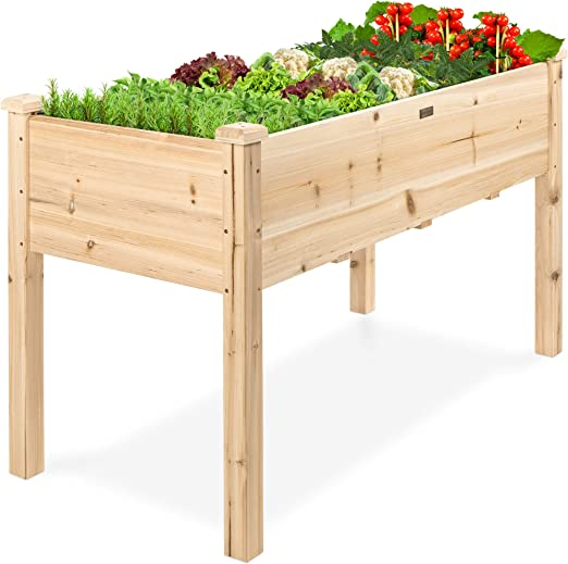 Best Choice Products 48x24x30in Raised Garden Bed, Elevated Wood Planter Box Stand for Backyard, Patio, Balcony w/Bed Liner, 200lb Capacity