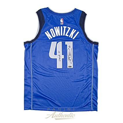 09f32b0a3 Dirk Nowitzki Autographed Nike Dallas Mavericks Blue Swingman Jersey with  Swish 41 quot  Inscription ~Limited