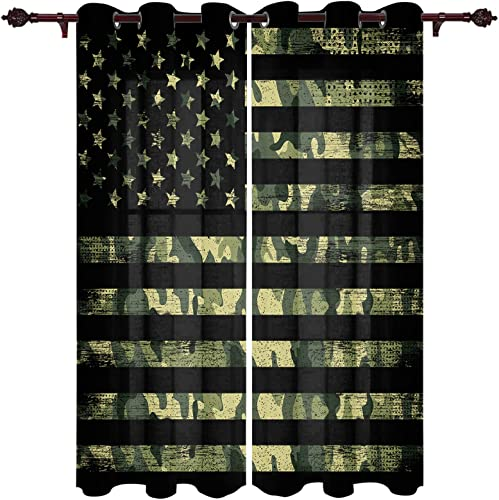 Lightrain 2 Sets of Panel Bedroom Curtains Camouflage American Flag Window Curtains