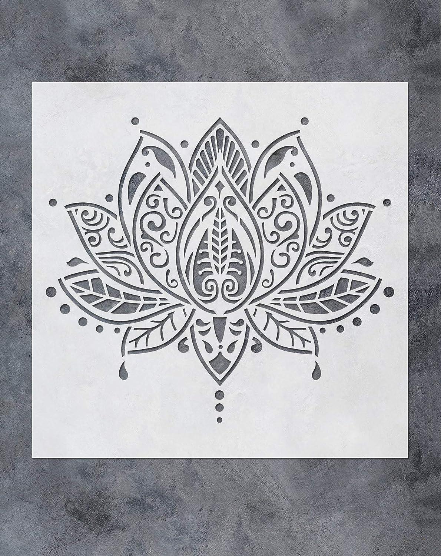 mur tissu SL-062 30,5 x 30,5 cm carrelage GSS Designs Pochoir mural motif mandala fleur de lotus Yoga Studio Boho D/écoration de chambre /à coucher pochoirs de peinture pour bois
