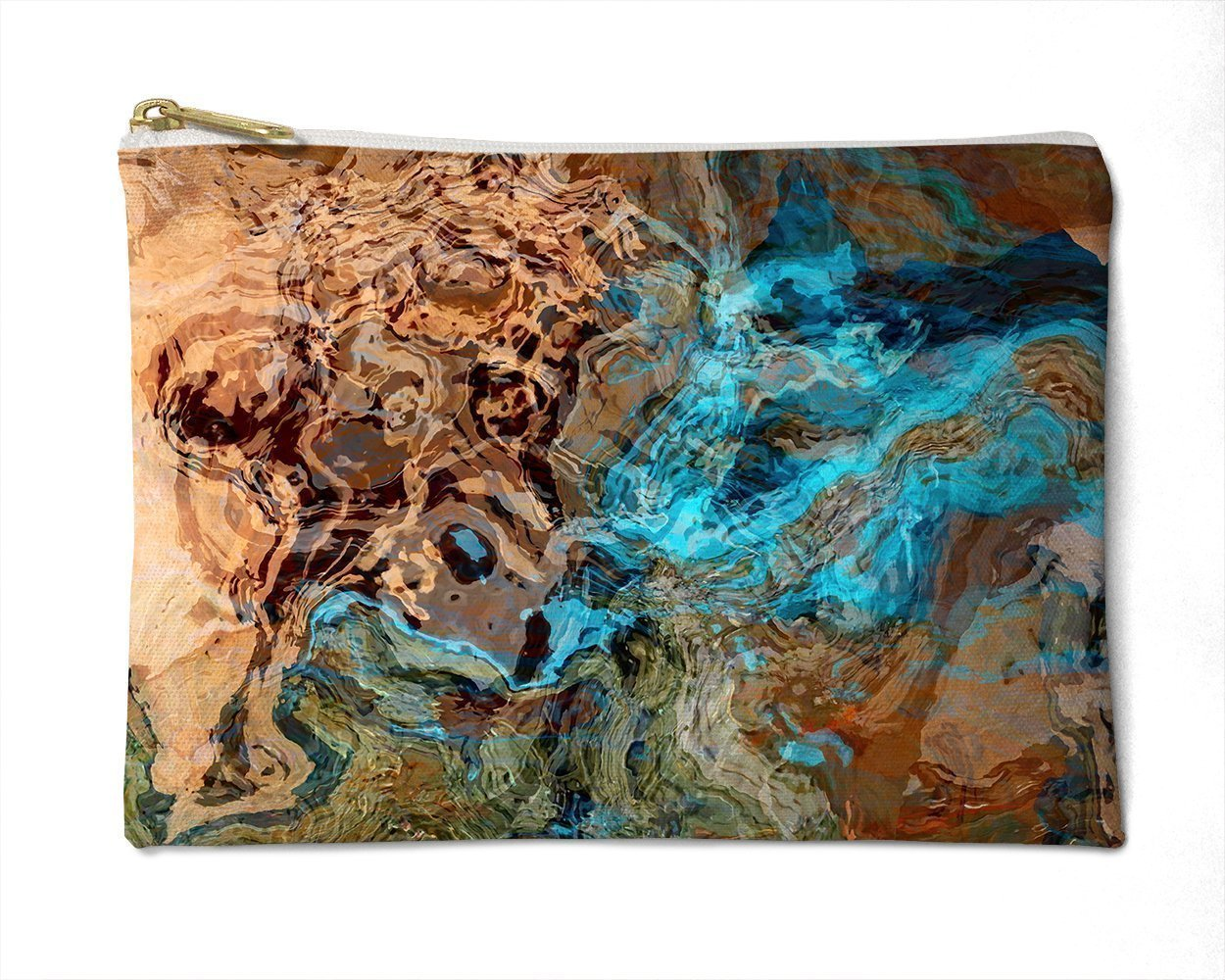 Makeup Bag or Pencil Case with Abstract Art in Southwest Colors, Canyon Sunset