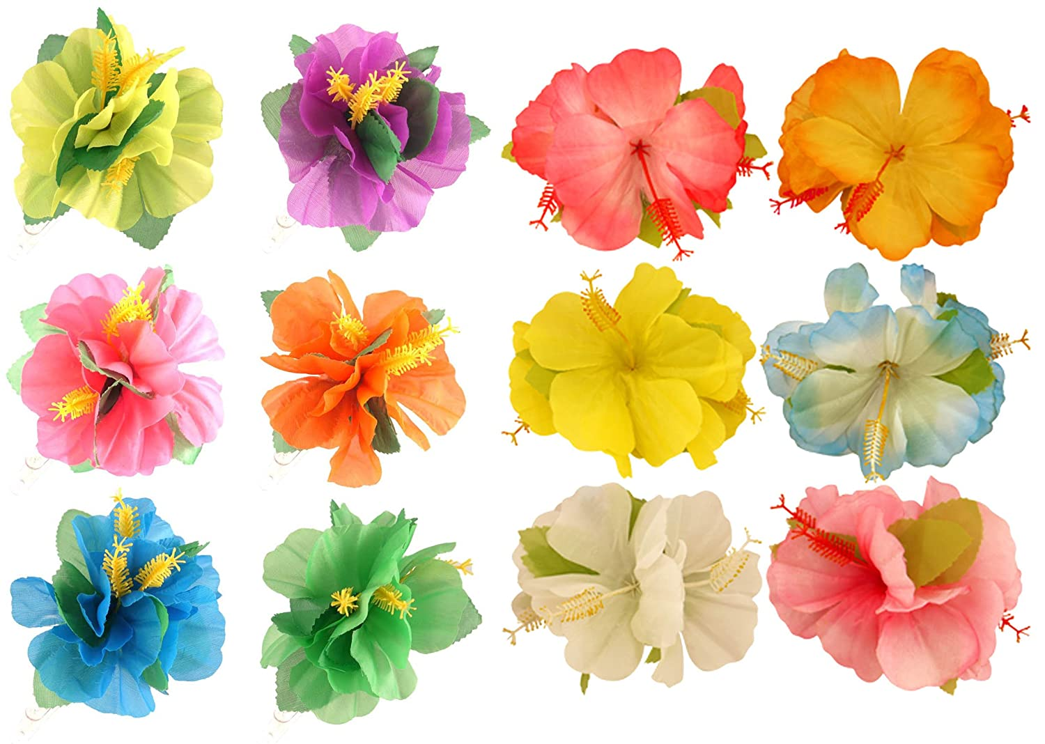 4 colours HIBISCUS 3 FLOWER HAIR CLIP LARGE