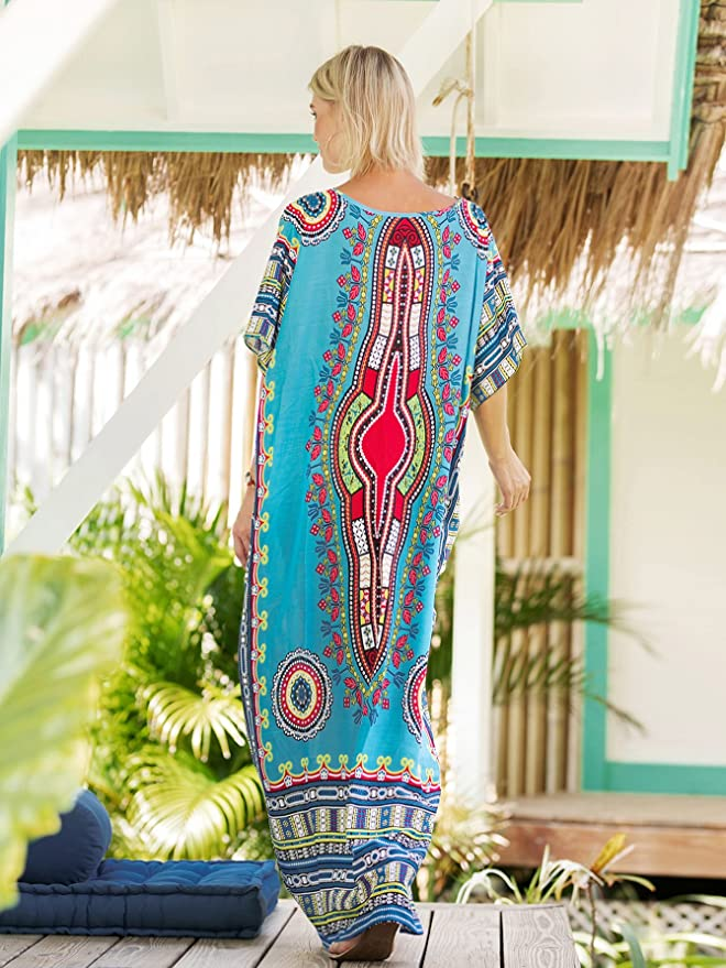 ca160e92ac8 Milumia Women s Bohemian Ornate Print V Neck Long Beach Cover Up Caftan  Maxi Dress Plus Size Blue One-Size at Amazon Women s Clothing store