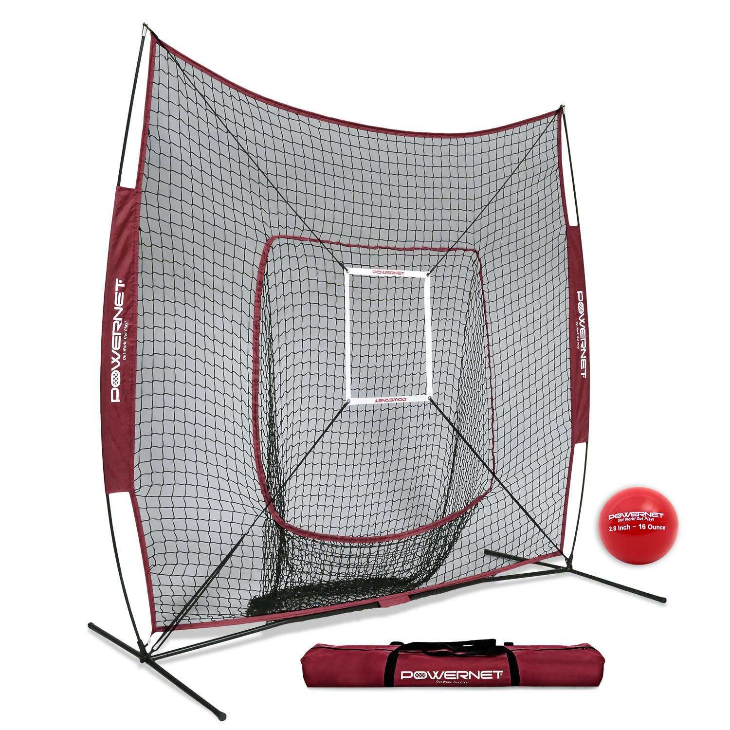 PowerNet DLX 7x7 Baseball Softball Hitting Net + Weighted Heavy Ball + Strike Zone Bundle (Maroon) | Training Set | Practice Equipment Batting Soft Toss Pitching | Team Color | Portable Backstop