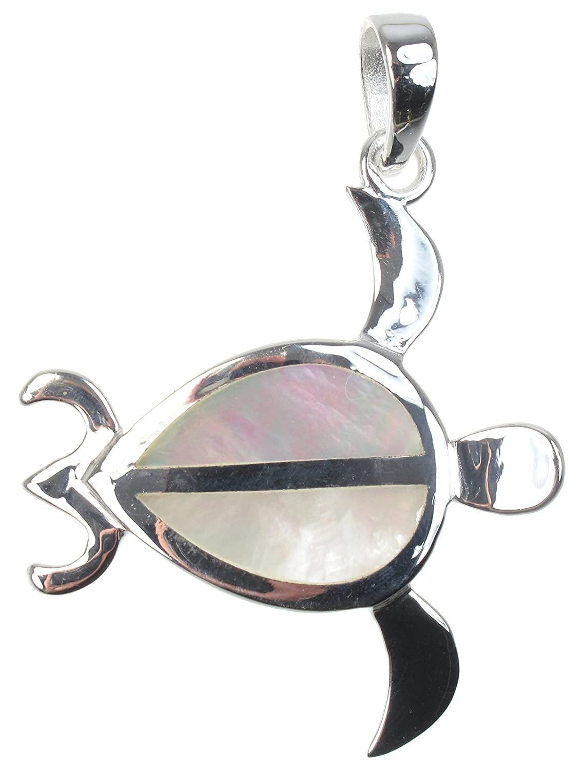 925 Sterling Silver White Mother of Pearl Inlay Sea Turtle Pendant Necklace 16 Long by Marisa DAmico Designs