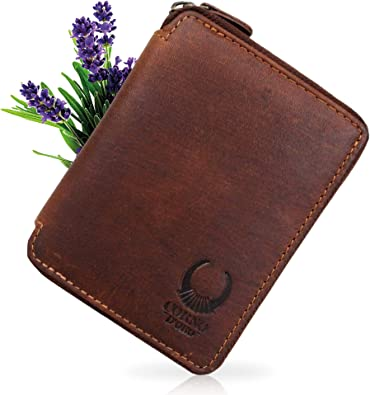 RFID Mens Genuine Leather Trifold Wallet Vintage Male Card Holder Coin Purse