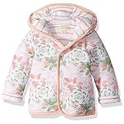 Burt's Bees Baby Unisex Baby Jacket, Hooded Coat, 100% Organic Cotton, Tulip Flower/Stripes Reversible, 12 Months