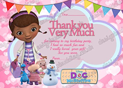 10 X Birthday Party Thank You Card Doc McStuffin Thick Cards FREE Envelopes Amazoncouk Kitchen Home