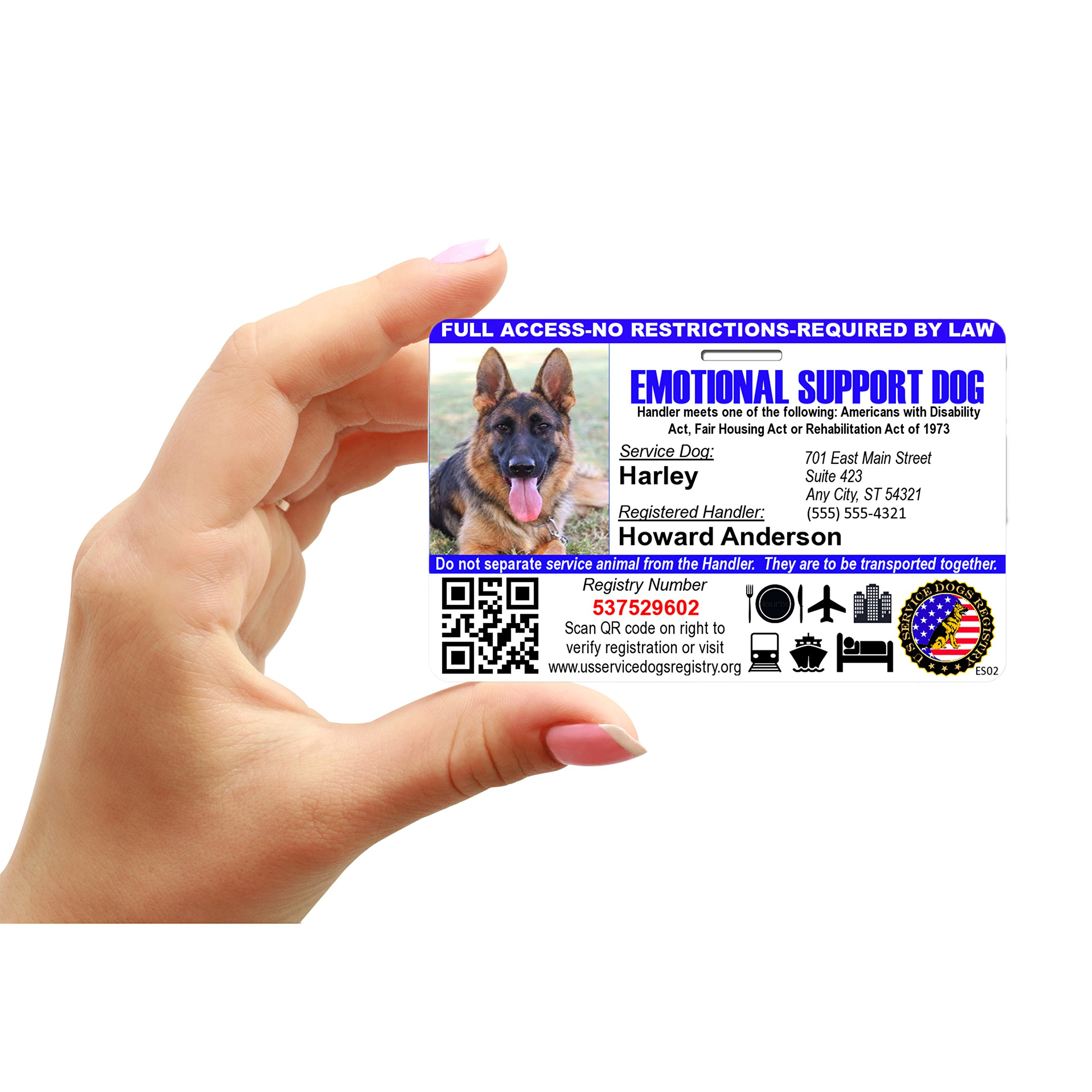 Just 4 Paws Custom Holographic QR Code Emotional Support Dog ID Card with Registration to Service Dogs Registry with Strap - Landscape Style by Just 4 Paws (Image #4)
