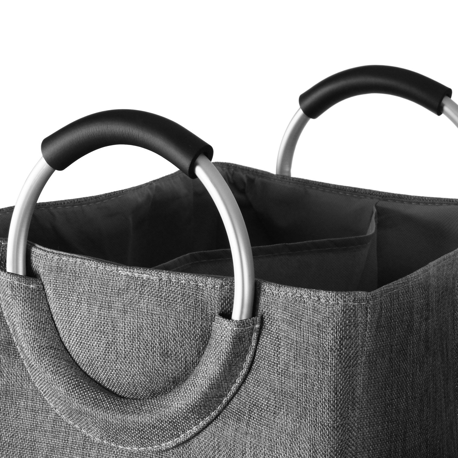 Clothes Hamper Round Handles Convenient Carrying Foldable,Easy to Clean IMPFUNICAL Double Laundry Hamper