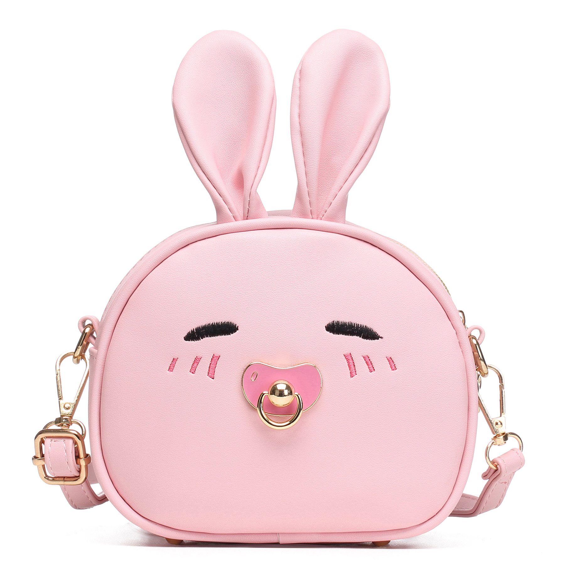 CMK Trendy Kids My First Purse for Toddler Kids Girls Cute Shoulder Bag Messenger Bags with Bunny Ear Novelty Birthday Gift (82011_Pink)
