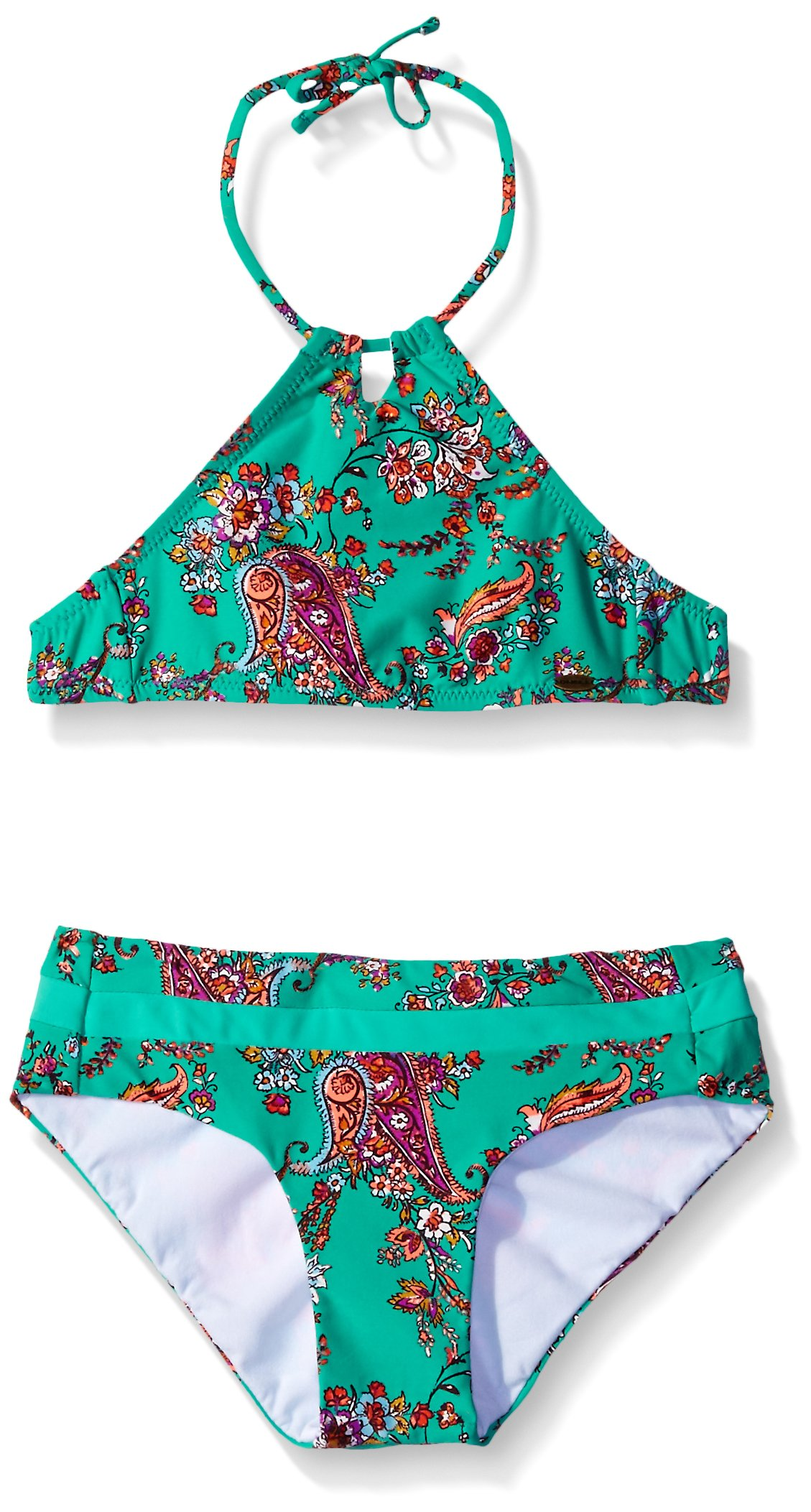 O'Neill Little Girls Bardot High Neck Halter Bikini Top and Bottom, Sea Glass, 5