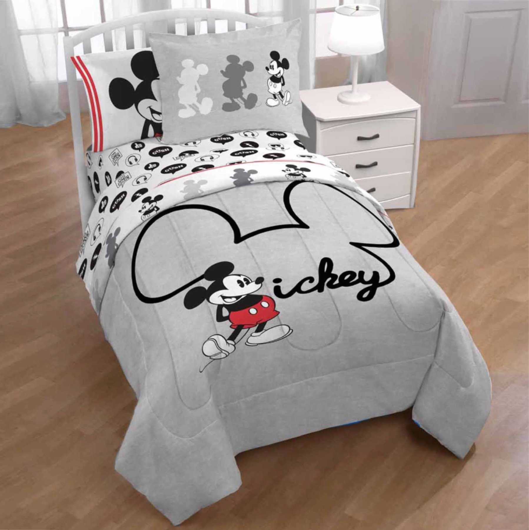 Disney's 8pc MICKEY MOUSE Gray FULL SIZE Comforter(76'' x 86''), Two Pillow Shams, Full Size Sheet Set + ONE DEC PILLOW!