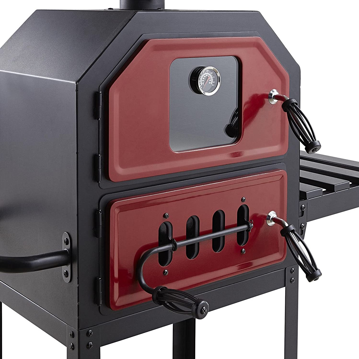 New Tesco Multifunction Charcoal Pizza Oven With Side Shelf Red Black