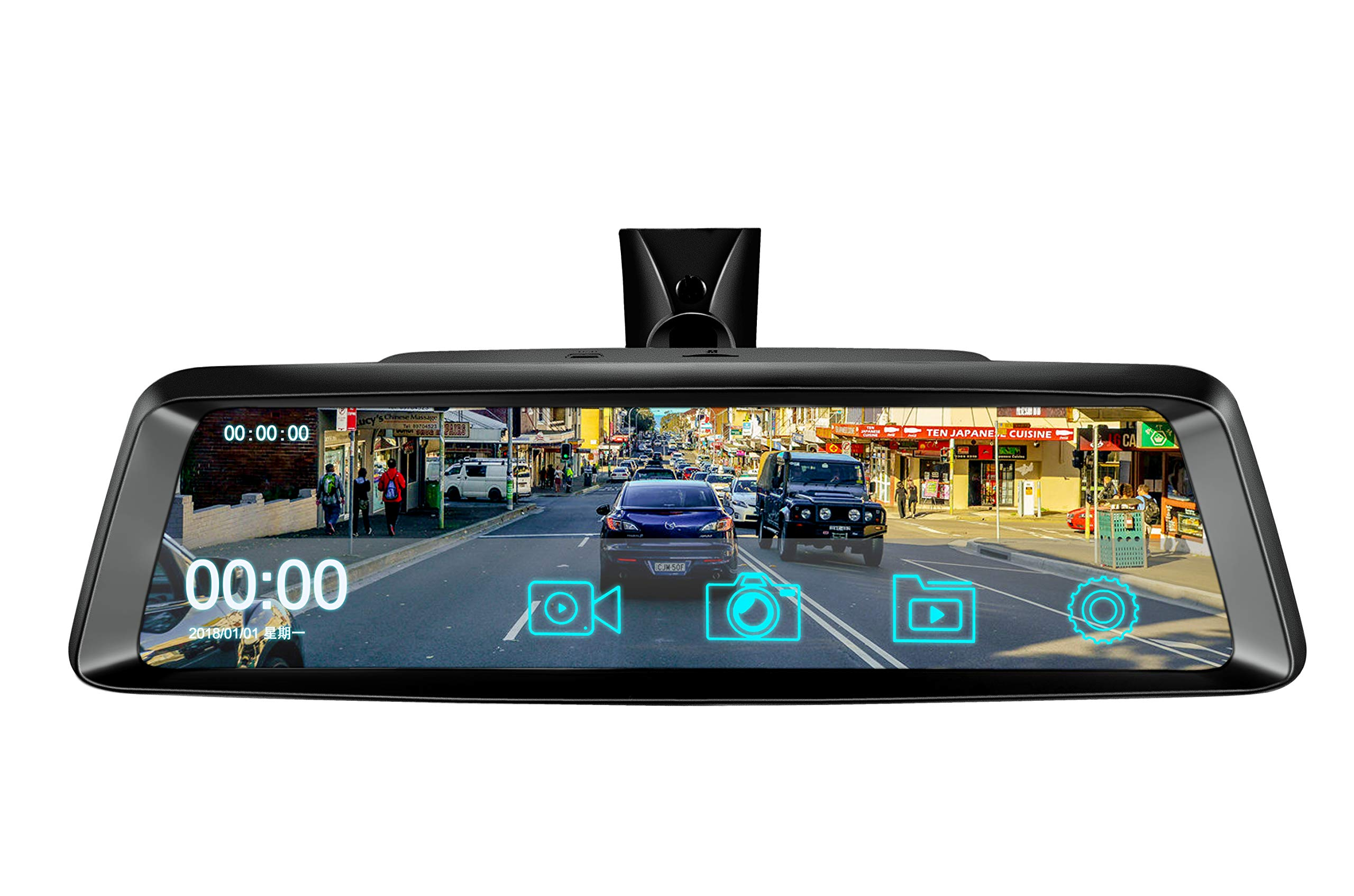 10'' Dash Cam Car DVR Stream Media Dual Lens Mirror Full Touch Screen HDR Reversing Backup Camera kit, Front and Rearview Camera Sony Sensor1080P HDR Night Vision Rear Rear View Mirror Video Recorde