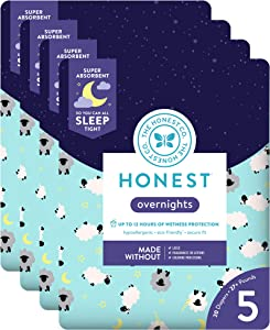 The Honest Company Overnight Diapers, Sleepy Sheep, Size 5 (80 Count)