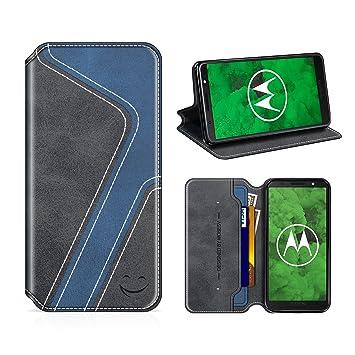 MOBESV Smiley Funda Cartera Moto G6 Plus, Funda Cuero Movil Moto G6 Plus Carcasa Case con Billetera/Soporte para Motorola Moto G6 Plus - Negro/Azul ...