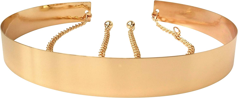 Cinturón de cintura de metal para mujer Espejo ancho Oro Dorado Plata Plateado Cadena llena Cadenas de pretina