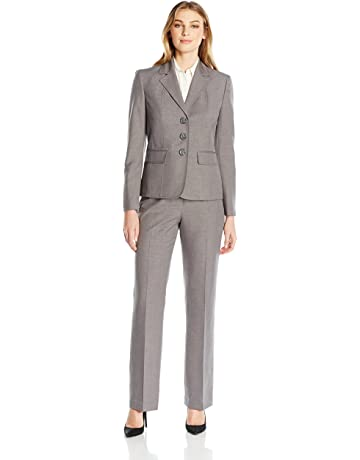 9983e5c346fe9 Le Suit Women s 3 Button Grey Pant Suit