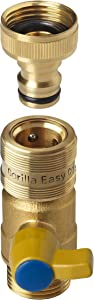 GORILLA EASY CONNECT Garden Hose Quick Connect Fittings with Ball Valve. ¾ Inch GHT Solid Brass.