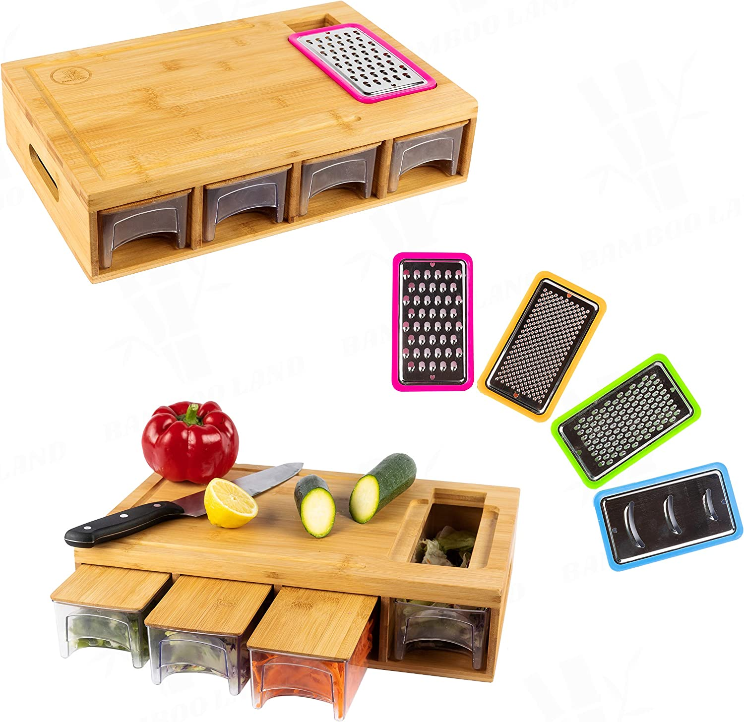 BAMBOO LAND Large bamboo cutting board with trays/drawers/container and bamboo lids, Chopping board with juice grooves, handles & food sliding opening, cutting board for easy food prep and cleanup