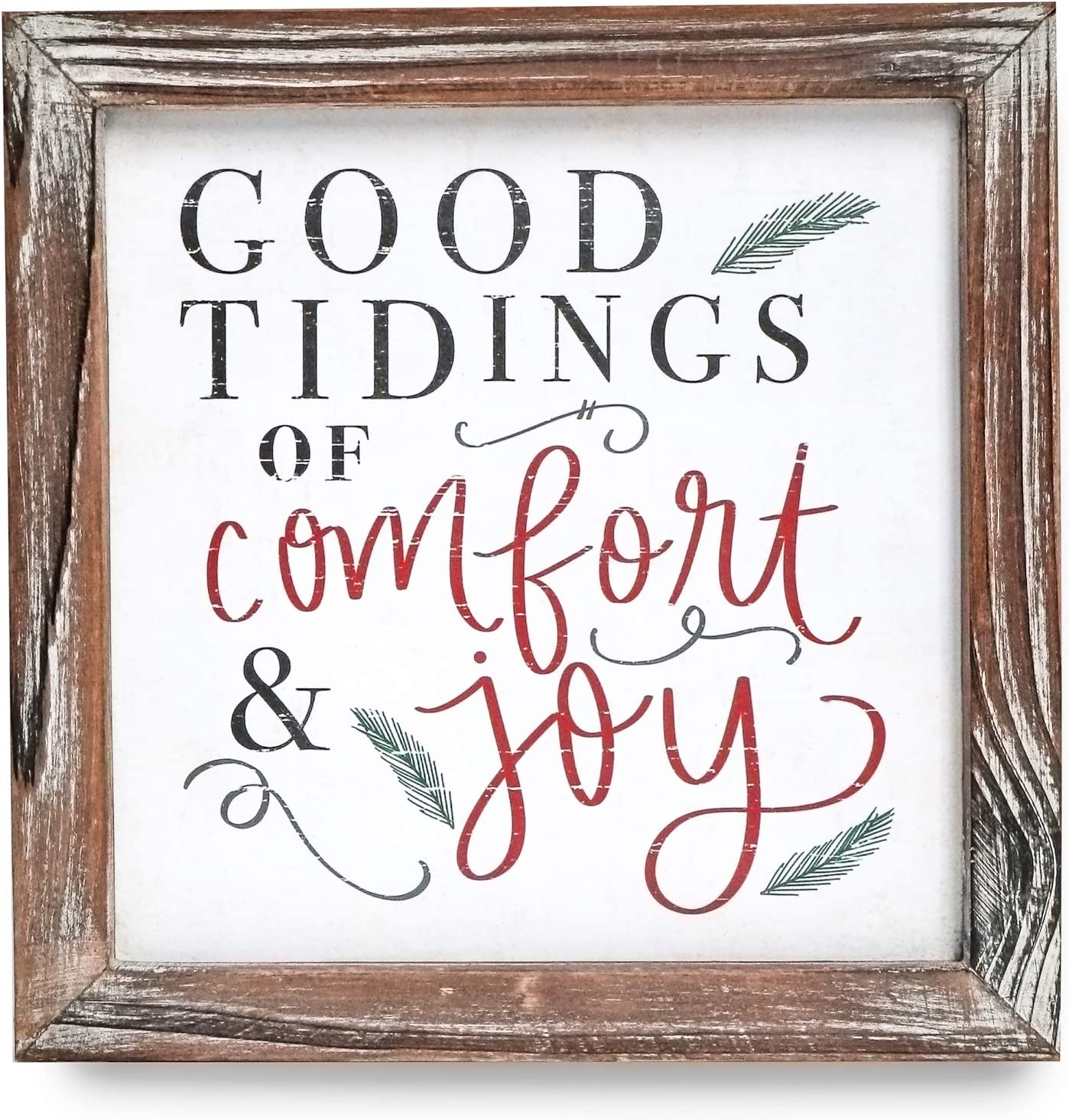 Sweet Water Decor Good Tidings of Comfort and Joy Wood Sign 8x8