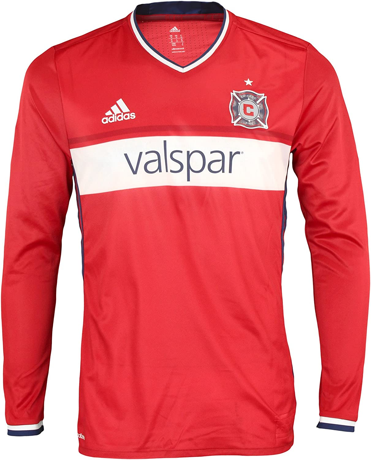 Amazon Com Adidas Mls Soccer Chicago Fire Men S Long Sleeve Authentic Jersey Red Clothing