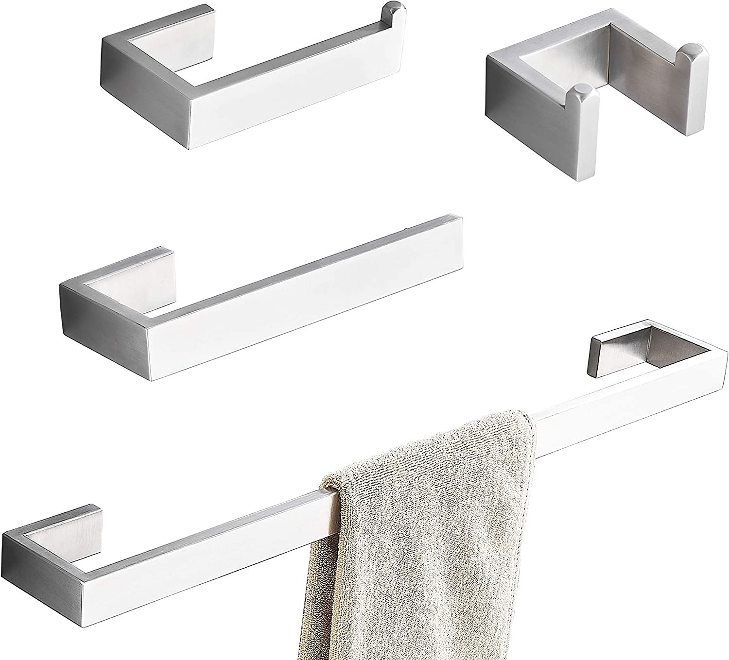 Towel Bar Set 4pcs Bathroom Hardware Accessory Set Brushed Nickel Sus304 Stainless Steel Bath Hardware Set Towel Rod With Toilet Paper Holder Towel Bar And Double Robe Hook Kitchen Dining