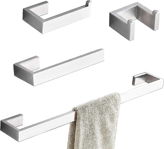 Towel Holders Bathroom Hardware Set Heavy Duty Bathroom Accessories Kit 6 PCS Stainless Steel Bathroom Towel Rails Set Wall Mounted 3 Towel Robe Hook 40CM Bath Towel Bar +2 Toilet Paper Holders