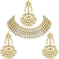 Aheli Faux Kundan Pearl Necklace with Earring Maang Tikka Indian Traditional Bollywood Fashion Jewelry Set for Women