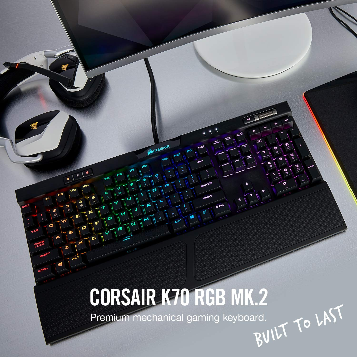 CORSAIR K70 RGB MK 2 Mechanical Gaming Keyboard - USB Passthrough & Media  Controls - Linear & Quiet - Cherry MX Red - RGB LED Backlit