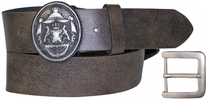 FRONHOFER Oktoberfest belt, leather belt, oval lion buckle, interchangeable, XXL, Color:Brown, Size:waist size 51 IN XXXL EU 130 cm